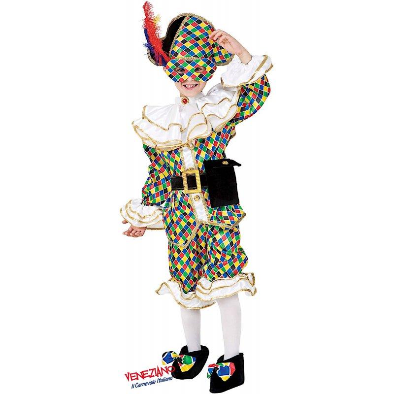 ARLECCHINO VESTITO COSTUME Maschera di CARNEVALE bambino